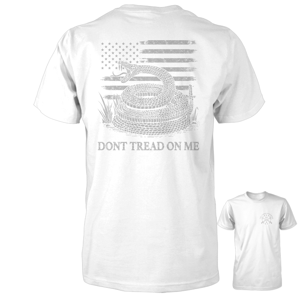 Dont Tread On Me Shirt - American Flag & Rattlesnake - White