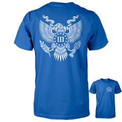 Three Percenter Shirt - The Great Seal of the III Percent | Back Print - Royal with White