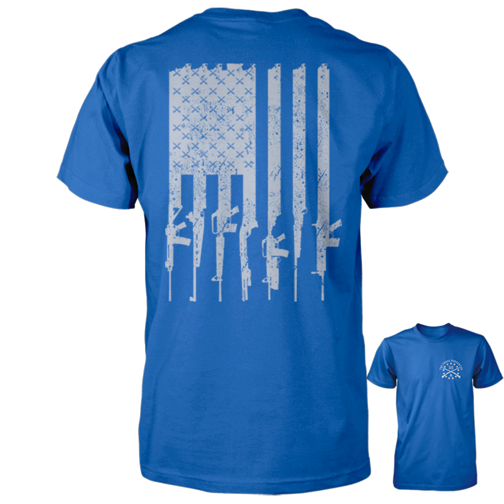 American Gun Flag Shirt - Distressed Vertical Back Print - Royal with Grey
