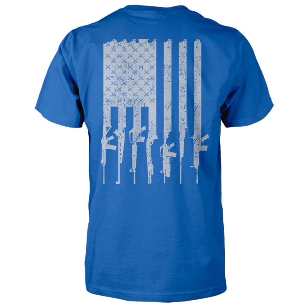 American Gun Flag Shirt - Distressed Vertical Back Print - Royal