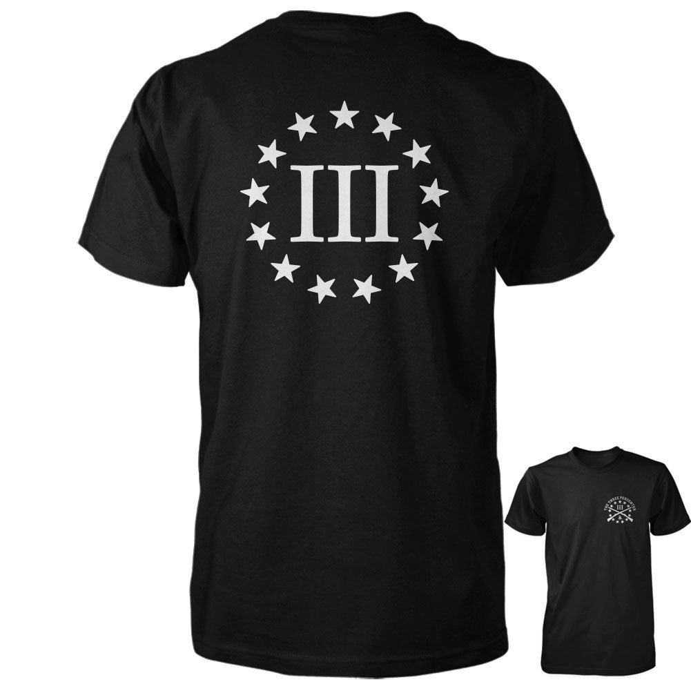 Three Percenter Shirt - III & 13 Stars | Back Print - Black/White