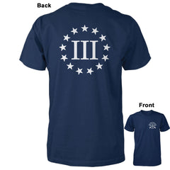 Three Percenter Shirt - III & 13 Stars | Back Print - Navy