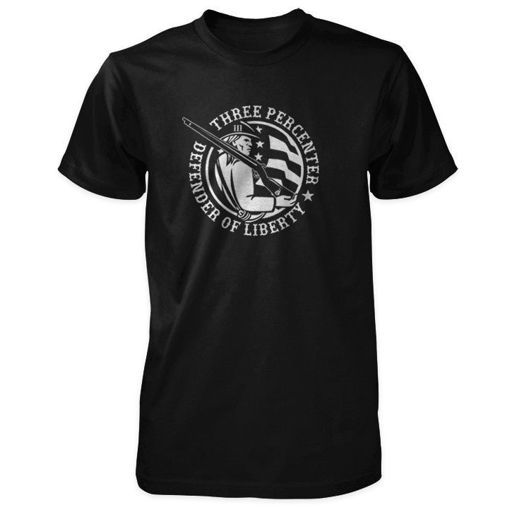 Three Percenter Shirt - Defender of Liberty - Black
