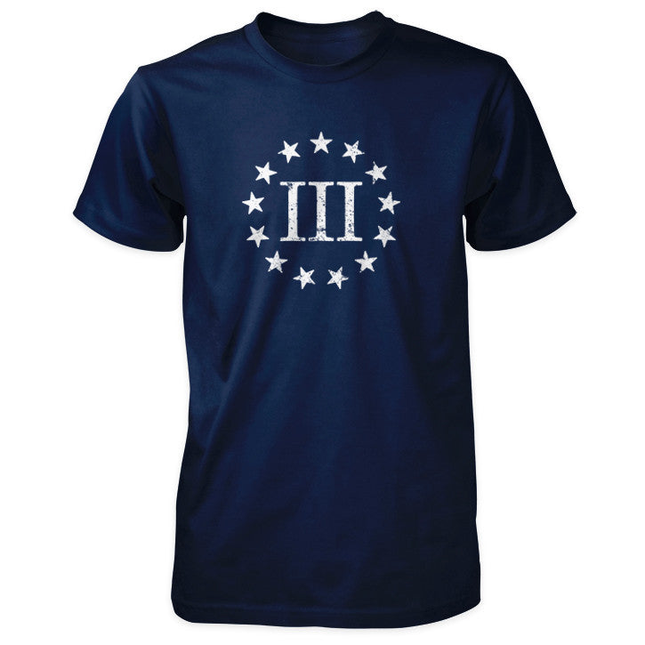 Three Percenter Shirt - Distressed III & 13 Stars - Navy