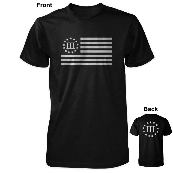 Three Percenter Shirt - III Percenter Flag / III & 13 Stars - Black