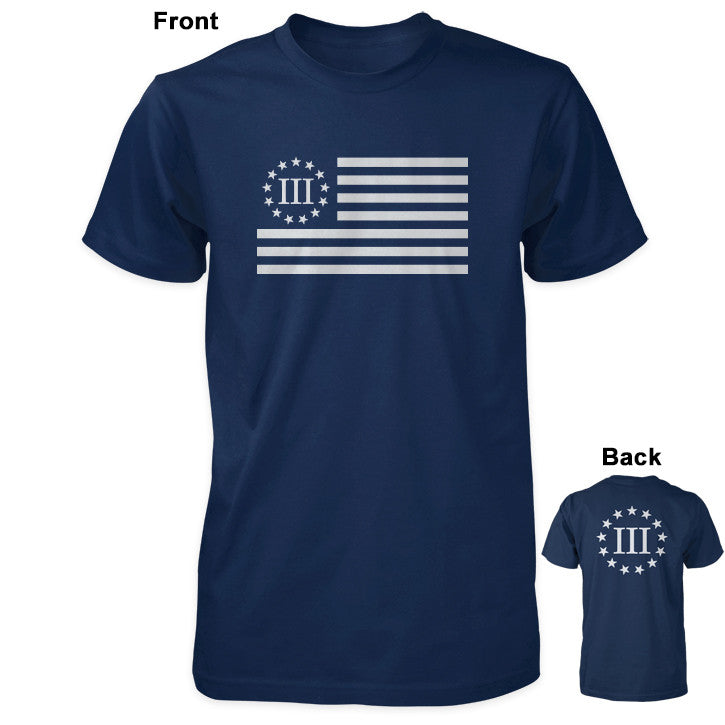 Three Percenter Shirt - III Percenter Flag / III & 13 Stars - Navy