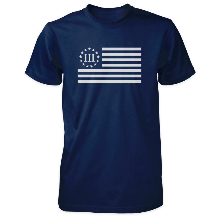 Three Percenter Shirt - III Percenter Flag - Navy
