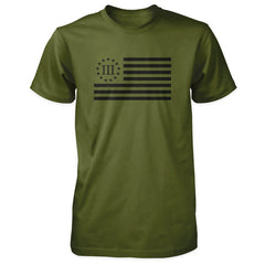 Three Percenter Flag Shirt Olive with Black