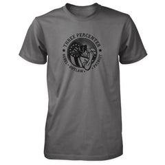 Three Percenter Shirt - Rebel Outlaw Patriot - Charcoal / Asphalt
