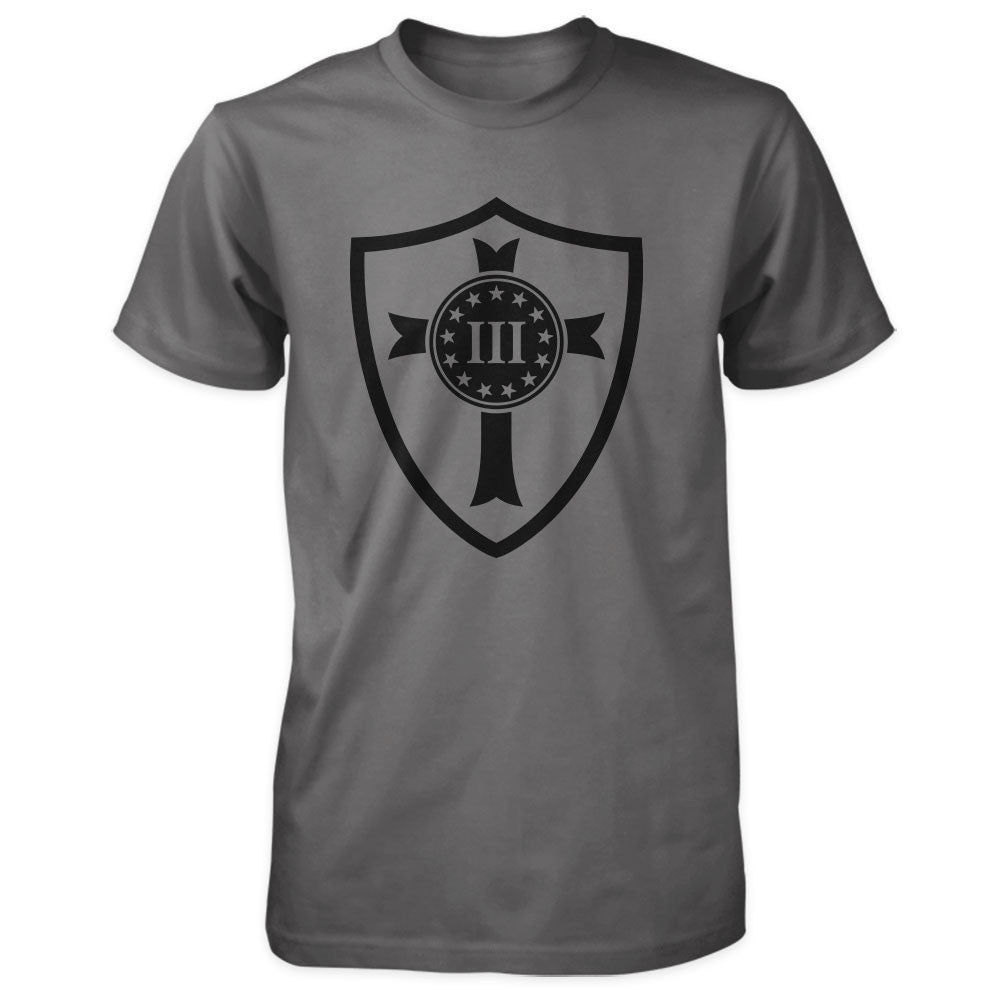 Three Percenter Shirt - Crusader Shield - Asphalt / Charcoal
