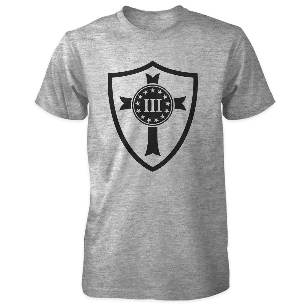 Three Percenter Shirt - Crusader Shield - Grey