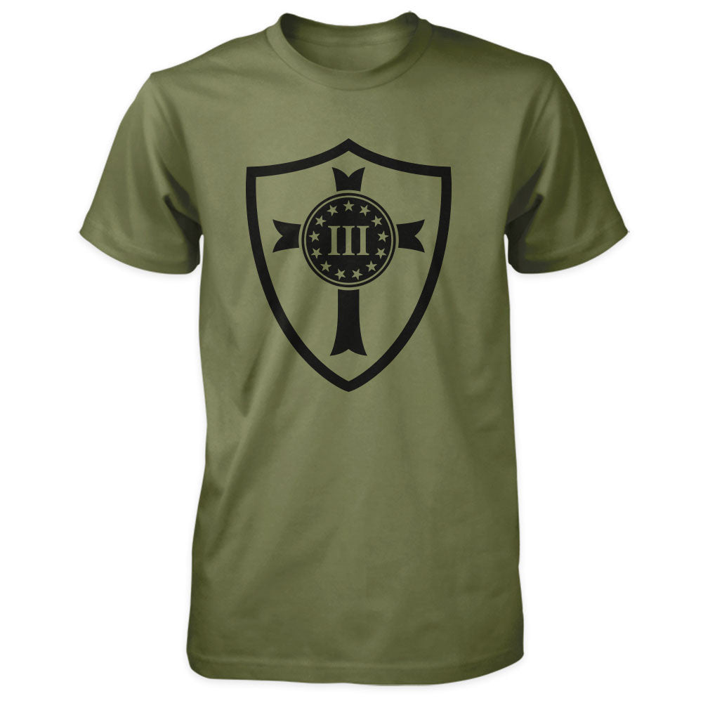 Three Percenter Shirt - Crusader Shield - Military