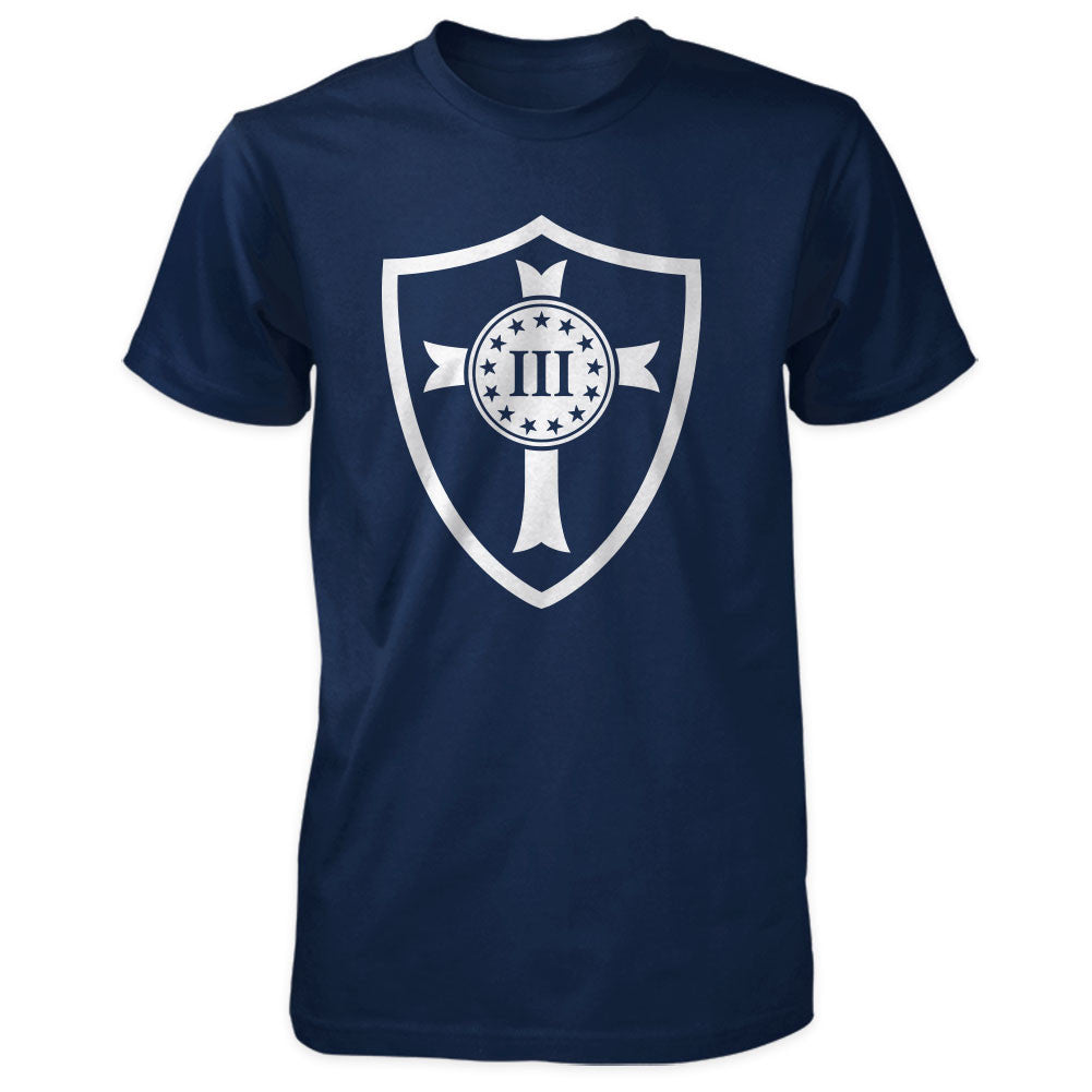 Three Percenter Shirt - Crusader Shield - Navy