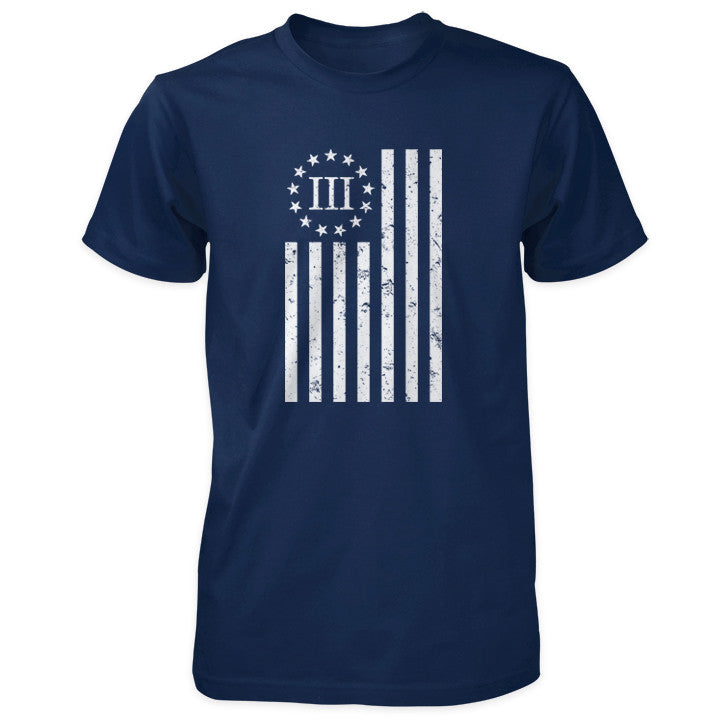 Distressed Vertical III Percenter Flag - Navy