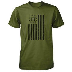 Distressed Vertical III Percenter Flag - Olive