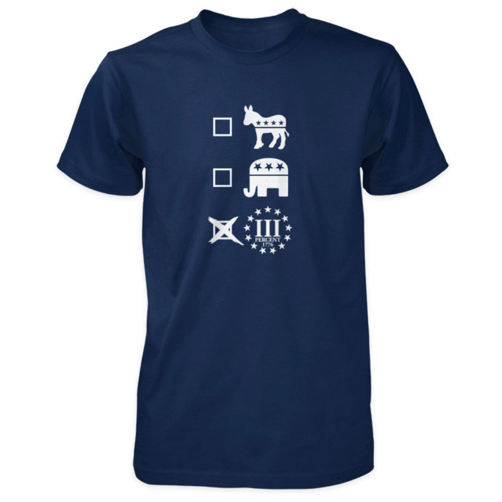Three Percenter Shirt - Vote III Percent - Navy