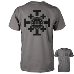 Three Percenter Shirt - Crusaders Cross | Back Print - Charcoal