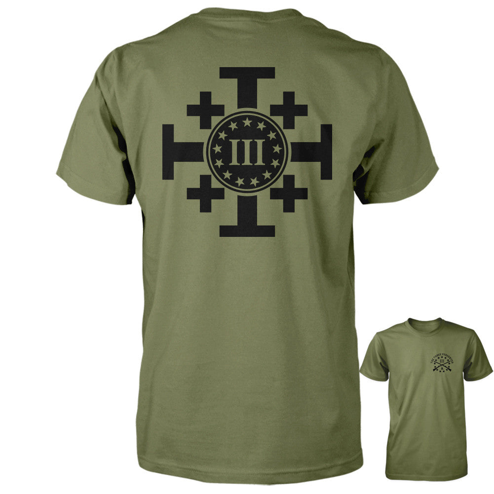 Three Percenter Shirt - Crusaders Cross | Back Print - Military