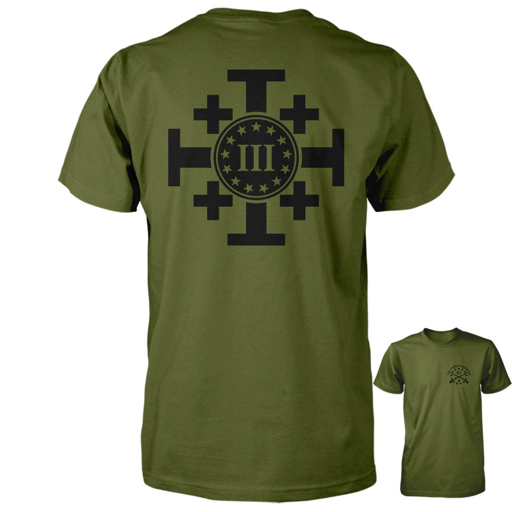 Three Percenter Shirt - Crusaders Cross | Back Print - Olive