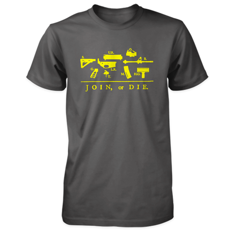 Join or Die Shirt - Exploded AR-15 - Charcoal