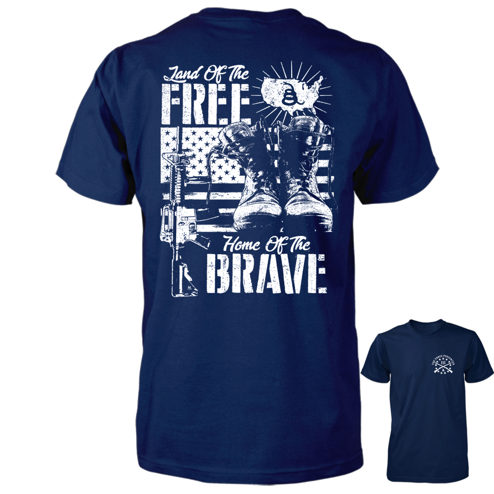 Land of the Free Home of the Brave Shirt - Navy