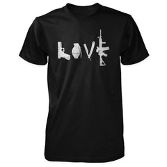 Love Spelled with Guns & Weapons Shirt - Black