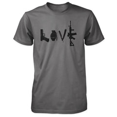 Love Spelled with Guns & Weapons Shirt - Charcoal