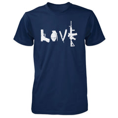 Love Spelled with Guns & Weapons Shirt - Navy