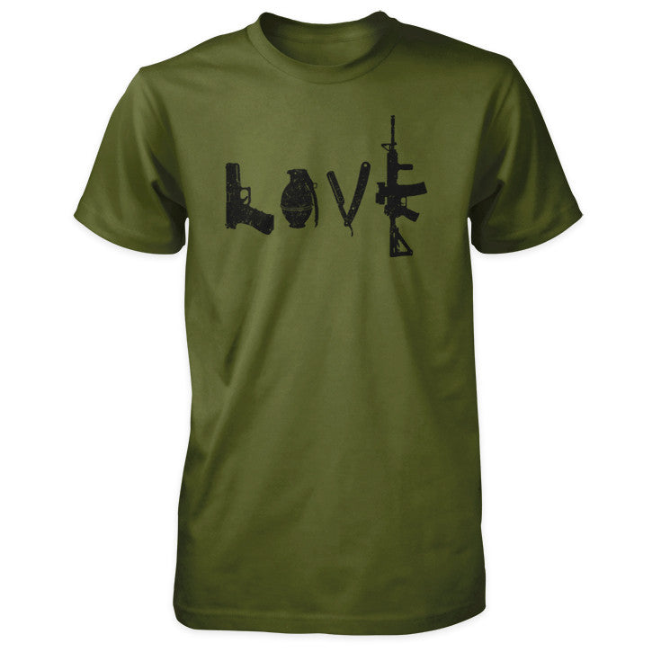 Love Spelled with Guns & Weapons Shirt - Olive