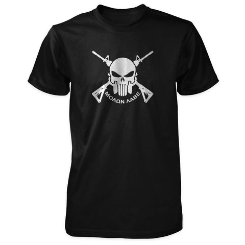 Molon Labe Shirt - Skull, Crossed AR-15s & Greek Phrase