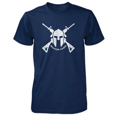 Molon Labe Shirt - Crossed AR-15s & Spartan Helmet - Navy