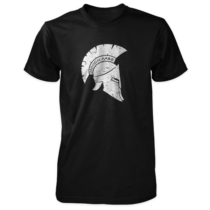 Molon Labe Shirt - Distressed Spartan Helmet - Black