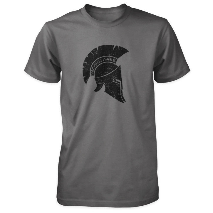 Molon Labe Shirt - Distressed Spartan Helmet - Asphalt/Charcoal