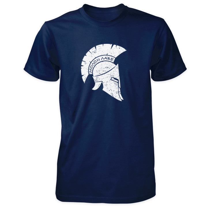 Molon Labe Shirt - Distressed Spartan Helmet - Navy