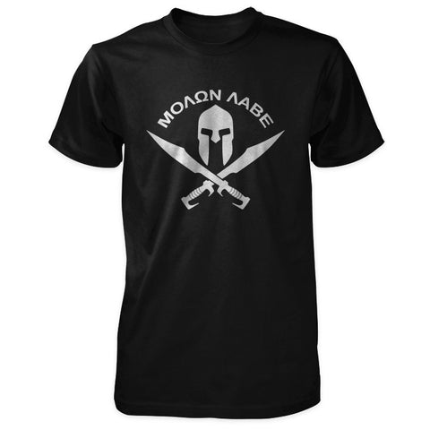 Molon Labe Shirt - Spartan Helmet & Swords - Black