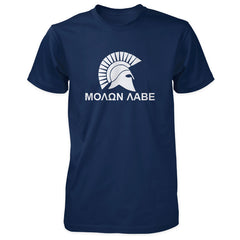 Molon Labe Shirt - Spartan Helmet & Greek Phrase - Navy