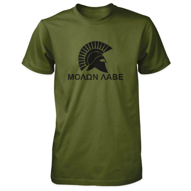 Molon Labe Shirt - Spartan Helmet & Greek Phrase - Olive Black