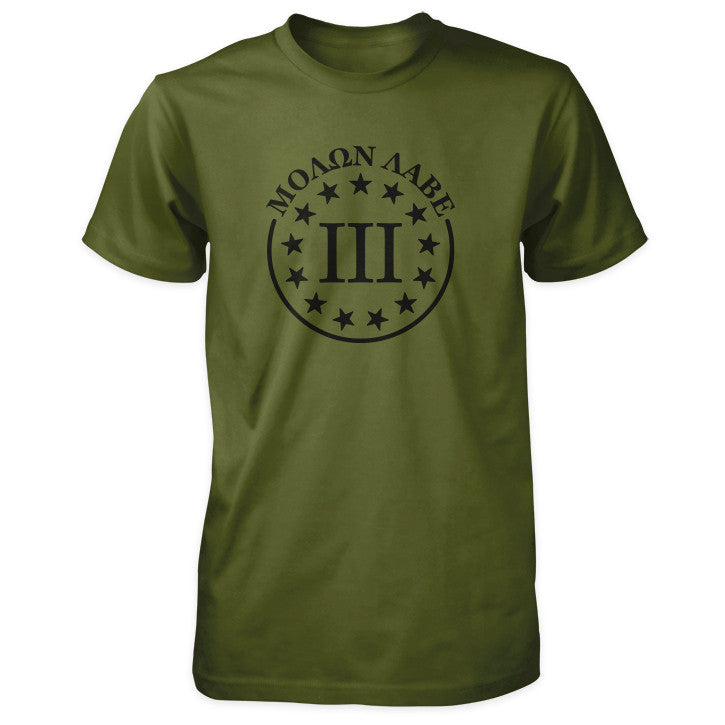 Molon Labe Shirt - III Percenter & 13 Stars - Olive Black