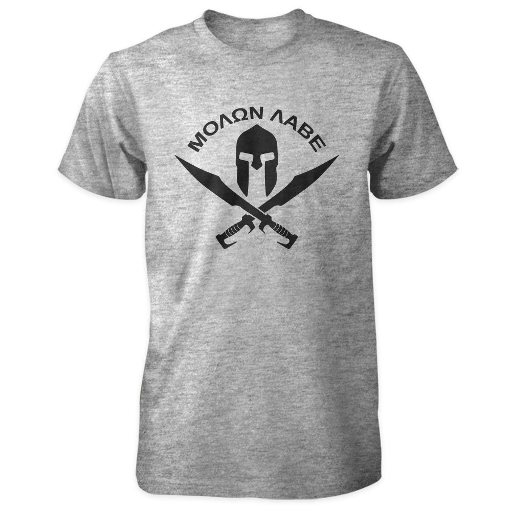 Molon Labe Shirt - Spartan Helmet & Swords - Grey