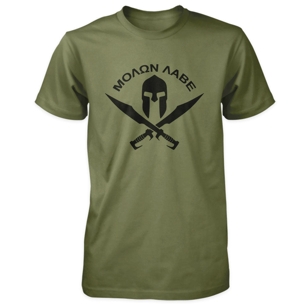 Molon Labe Shirt - Spartan Helmet & Swords - Military
