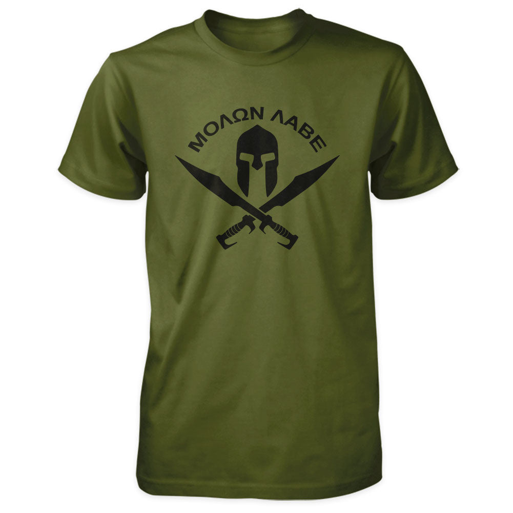 Molon Labe Shirt - Spartan Helmet & Swords - Olive/Black