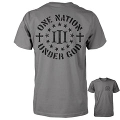 Three Percenter Shirt - One Nation Under God - Charcoal