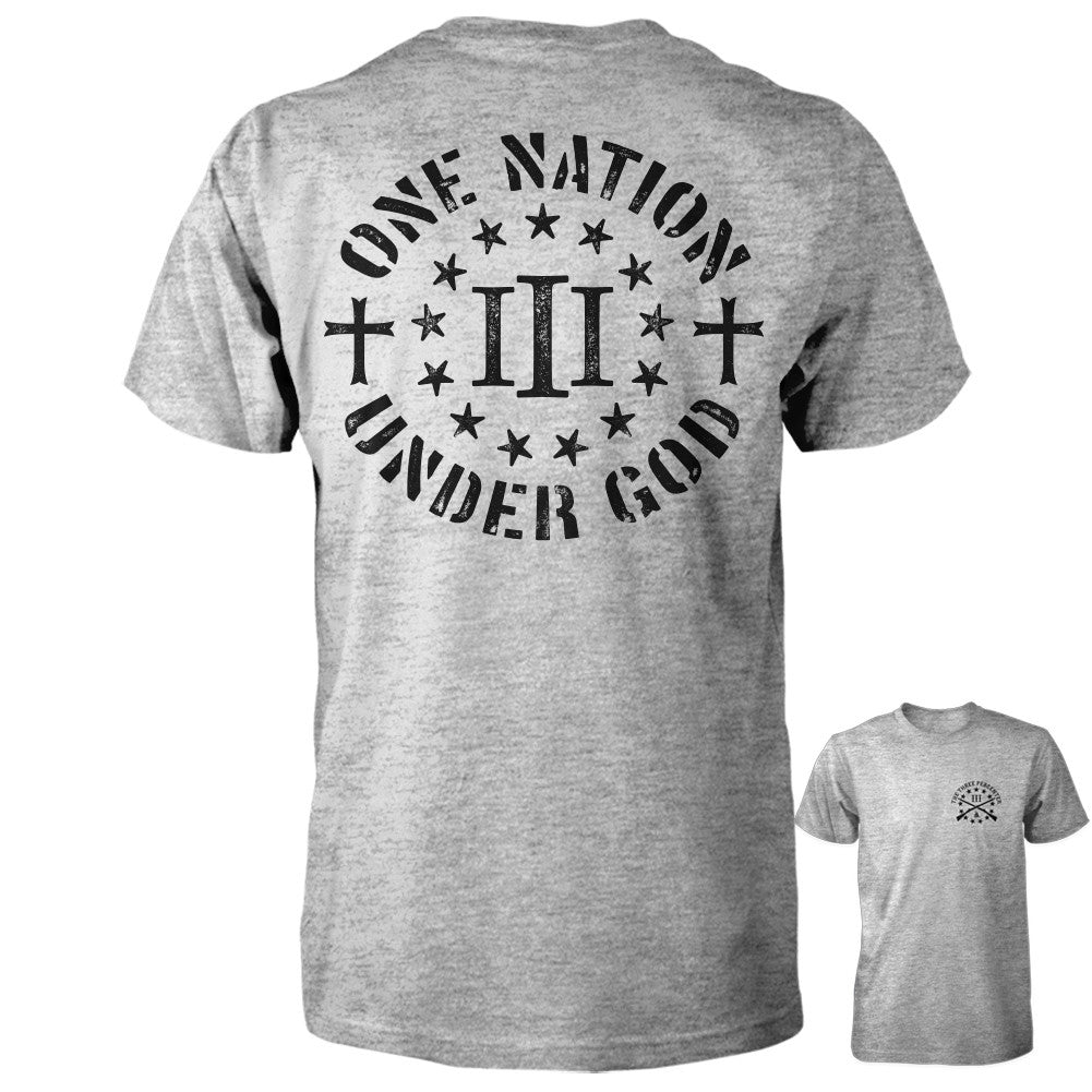 Three Percenter Shirt - One Nation Under God - Grey