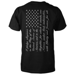 Pledge of Allegiance Flag Shirt - Vertical Back Print - Black