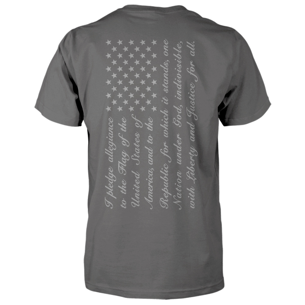 Pledge of Allegiance Flag Shirt - Vertical Back Print - Charcoal
