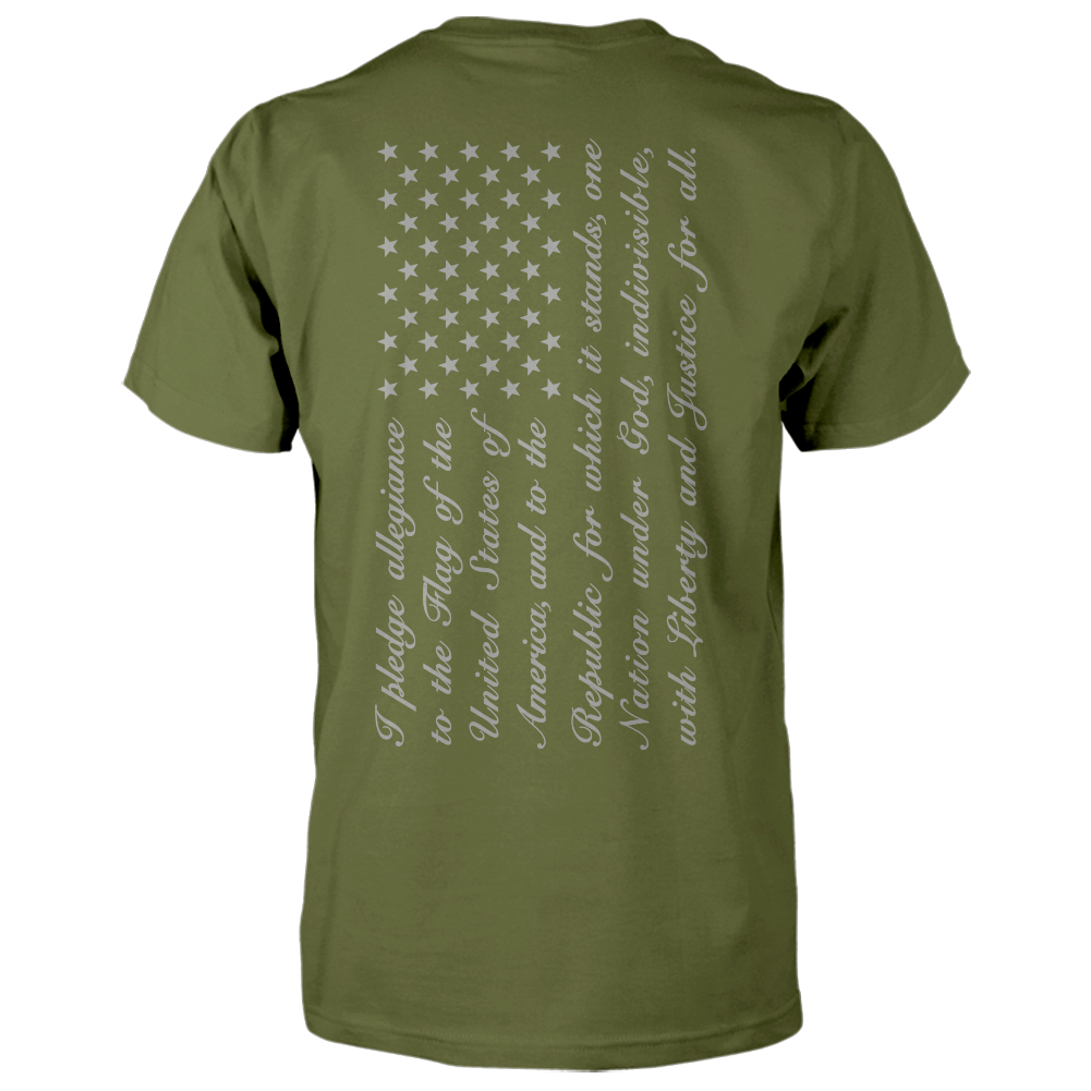 Pledge of Allegiance Flag Shirt - Vertical Back Print - Military