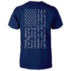Pledge of Allegiance Flag Shirt - Vertical Back Print - Navy