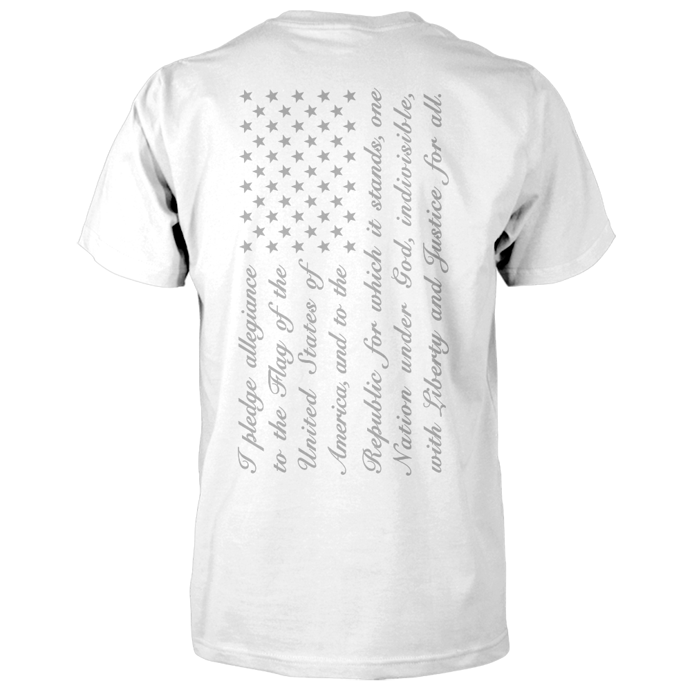 Pledge of Allegiance Flag Shirt - Vertical Back Print