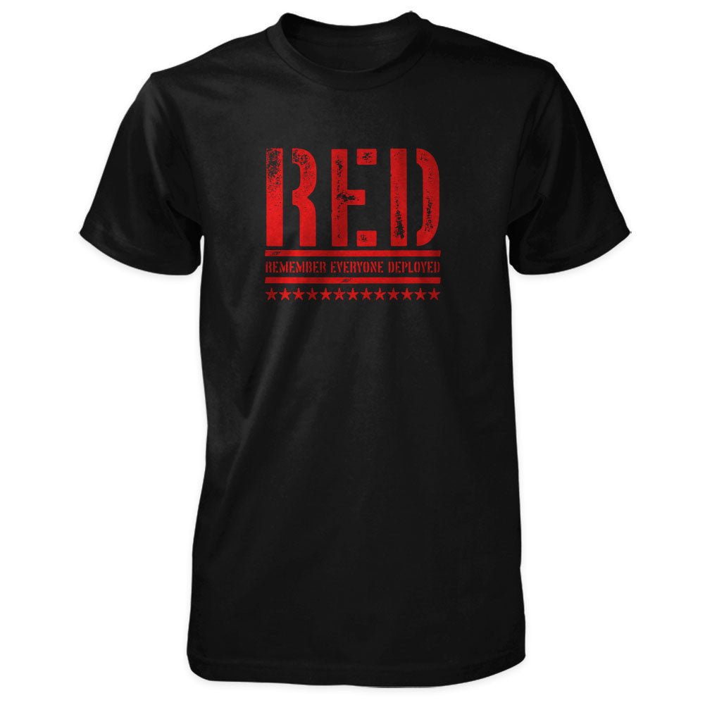 RED Shirt - Remember Everyone Deployed | Front Print - Black