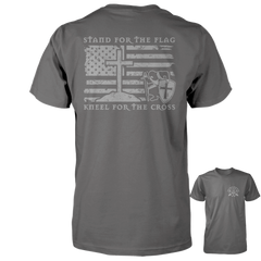 Stand For The Flag, Kneel For The Cross Shirt - Distressed Back Print
